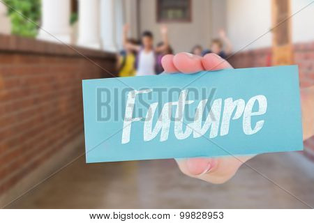 The word future and hand showing card against cute pupils running down the hall