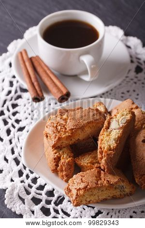 Cantuccini With Almonds And Coffee With Cinnamon. Vertical