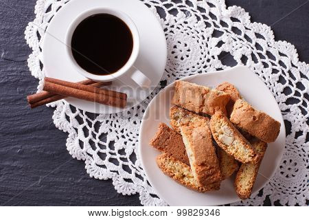 Cantuccini Cookies And Coffee On The Table Closeup. Horizontal Top View