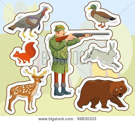 hunter and wild animals