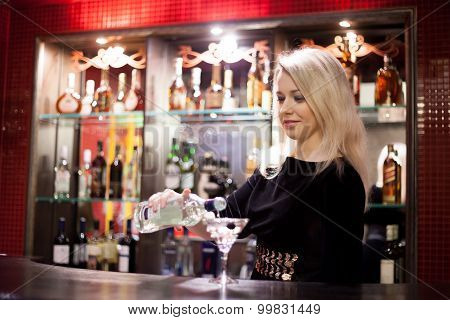Bartender Girl Serving Martini