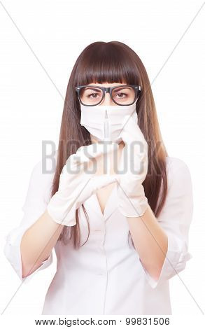 Beautiful Young Doctor In Medical Robe Holding Syringe