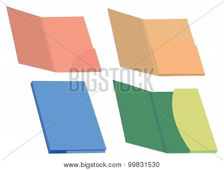 Colorful File Folders Vector Illustration