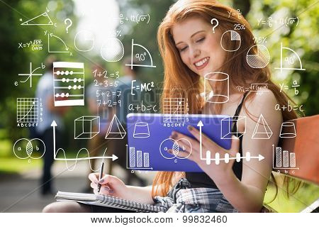 Maths against pretty student studying outside on campus
