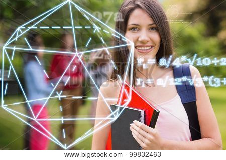 geometry problem against pretty student smiling at camera outside on campus