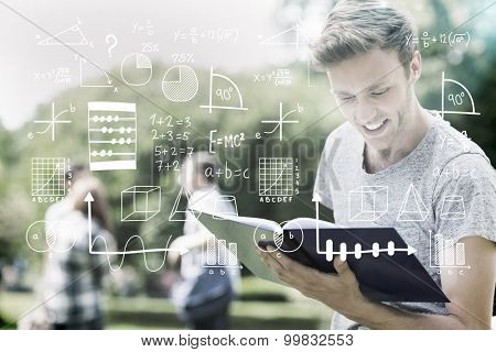 Maths against handsome student studying outside on campus