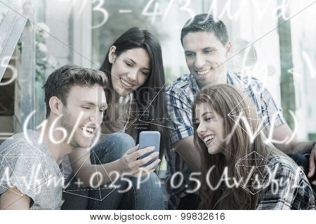 Maths equation against happy students looking at smartphone outside on campus