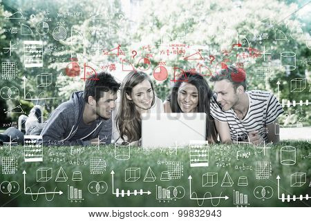 Maths against happy students using laptop outside