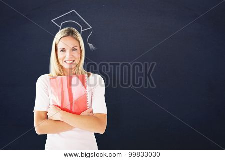 Mature student smiling against navy blue