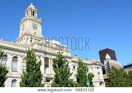 DES MOINES, IOWA - AUGUST 20, 2015: Polk County Courthouse. Built in 1906, it is listed on the National Register of Historic Places as a part of the County Courthouses in Iowa Thematic Resource.
