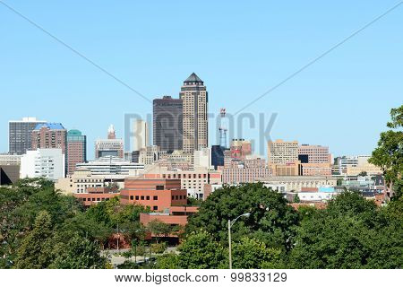 DES MOINES, IOWA - AUGUST 20, 2015: Des Moines Skyline. Des Moines is the capitol of Iowa and the states most populous city.