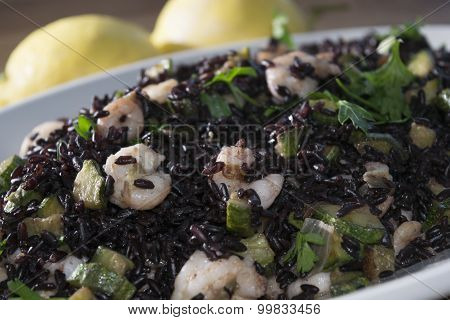 Venus Black Rice With Prawns And Courgettes