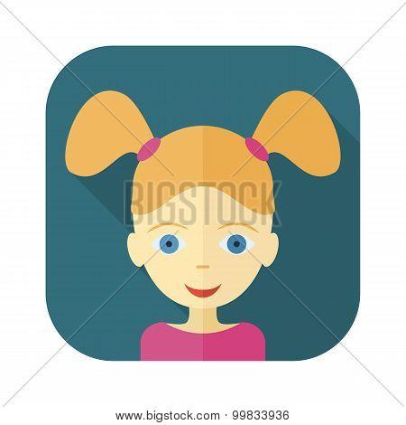 Flat avatars of children - girl