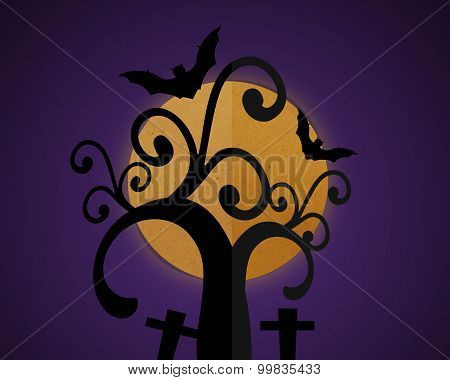 Halloween Night Sky Background, Full Moon And Shadow Tree.