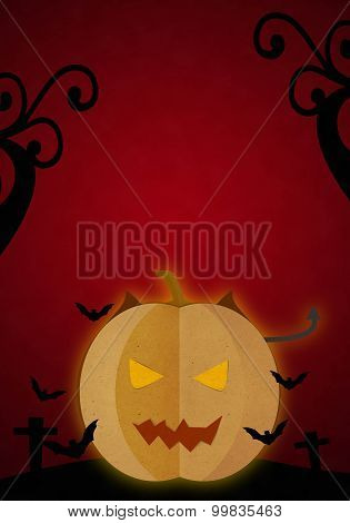 Pumpkin Devil In Halloween Red Night.