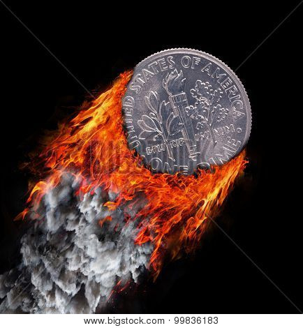Burning Coin With A Trail Of Fire And Smoke