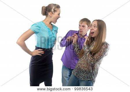 Photo of businesswoman screaming at subordinates