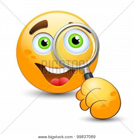 Emoticon Looking Through Magnifying Glass. Vector Illustration