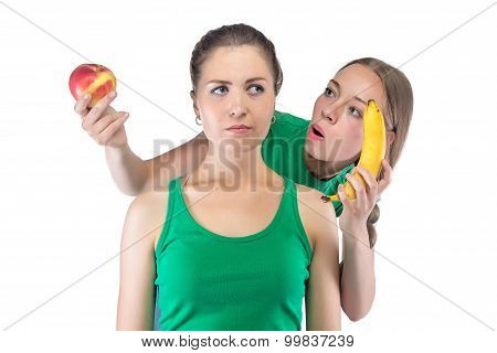 Image puzzled woman choosing between two things