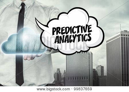 Predictive analytics text on cloud computing theme with businessman