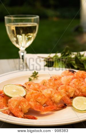 Grilled Shrimps And White Wine Outdoor