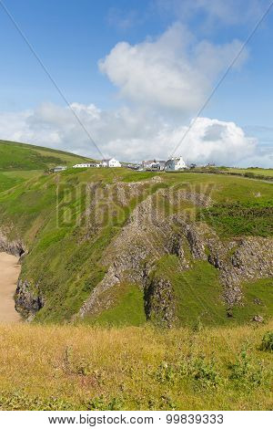 Rhossili coast by the beach and Worms Head The Gower peninsula South Wales UK