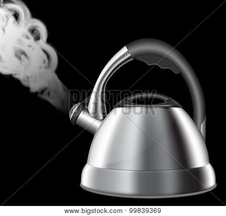 Steaming Kitchen Kettle Min. Vector Illustration