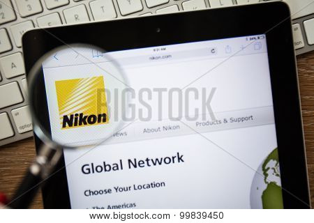 Chiangmai, Thailand - February 15, 2015: Photo Of Nikon.com Homepage On A Apple Ipad Screen.
