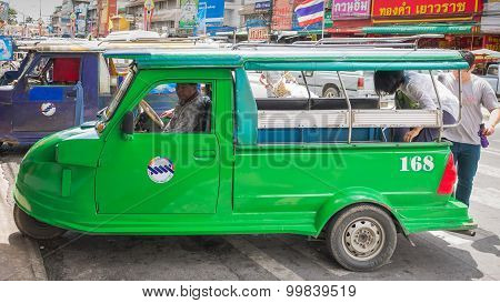 Ayutthaya Thailand  Auto rickshaw three-weeler tuk-tuk taxi driver For services to tourists