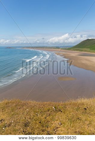 Rhossili beach The Gower peninsula near Swansea South Wales UK in summer