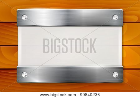 Plexiglass Plate With Metal Holders On Wooden Background