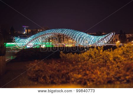 Tbilisi, Georgia- Aprilr 2,2014: The peace bridge in Tbilisi  over the Mtkvari River