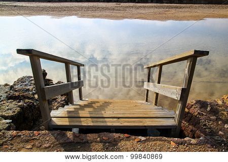 Stairway Goes Up Down Into Clouds Reflection