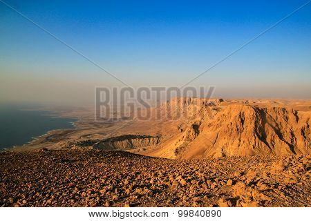 Ein Gedi Kibbuts And Reserve Near Dead Sea, Israel At Sunrise.