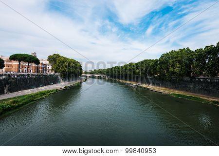 View on bridge over the Tiber river Rome