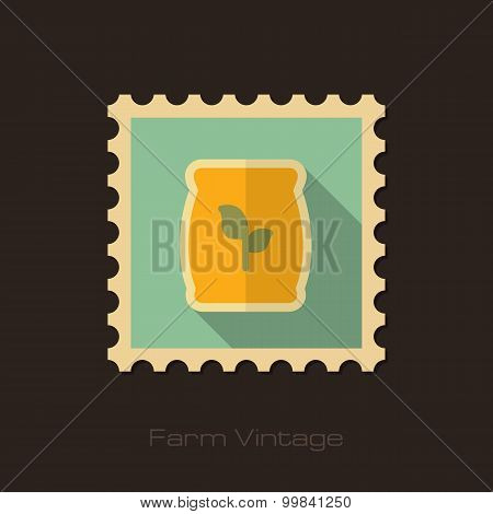 Fertilizer Retro Flat Stamp With Long Shadow
