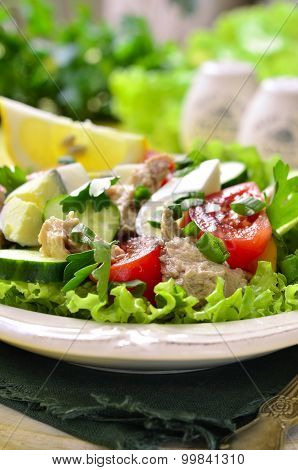 Vegetable Salad With Cod Liver.