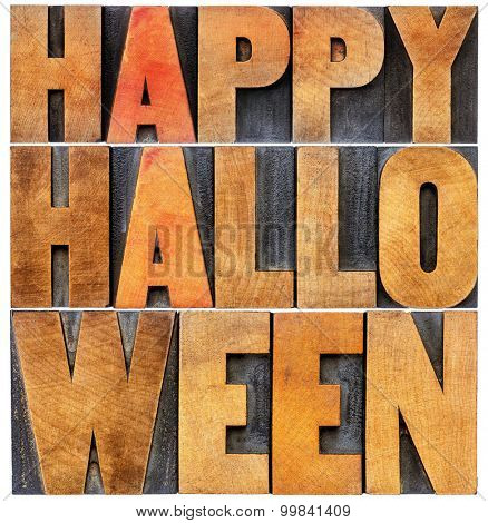 Happy Halloween greeting card -  isolated word abstract in vintage grunge letterpress wood type printing blocks