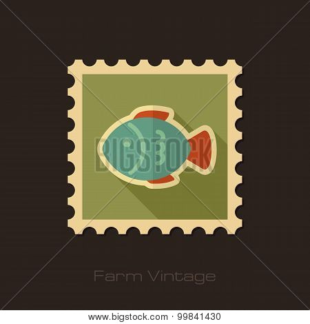 Fish Retro Flat Stamp With Long Shadow