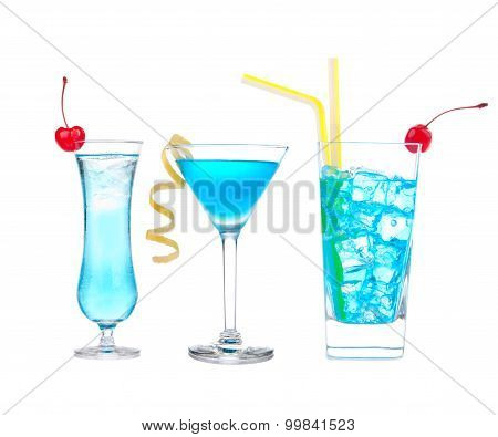 Three Cocktails With Alcohol Margarita Cocktail Martini Blue Hawaian