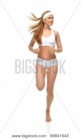 Happy Young Fitness Beautiful Slim Sport Woman Jogging And Running