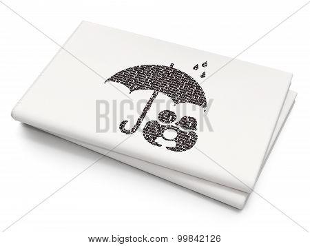 Insurance concept: Umbrella on Blank Newspaper background