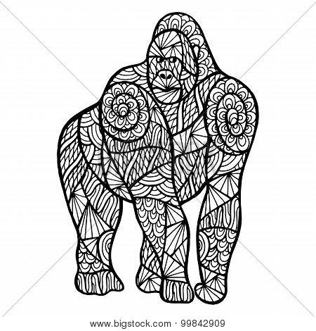 Stylized Monkey Zentangle