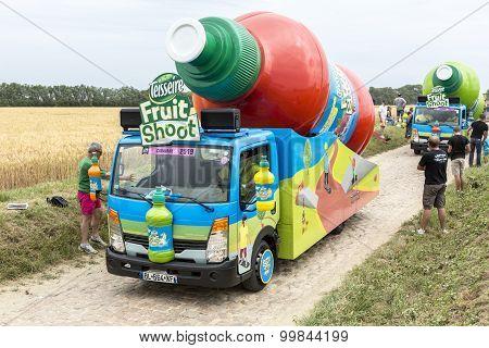 Teisseire Caravan On A Cobblestone Road- Tour De France 2015