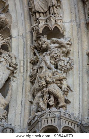 PARIS, FRANCE - SEPTEMBER 8, 2014: Paris - West facade of Notre Dame Cathedral. Archivolts of The Last Judgment portal