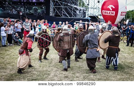 Warsaw, Poland - june 20, 2015: knight fights on midsummer holiday fest