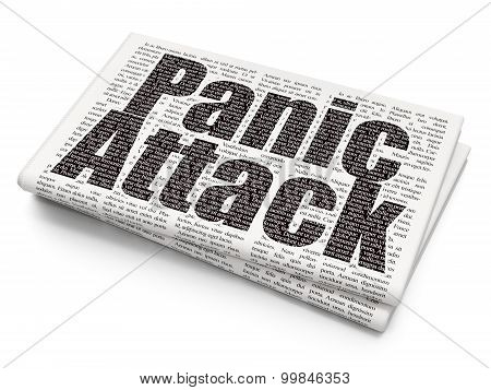 Healthcare concept: Panic Attack on Newspaper background