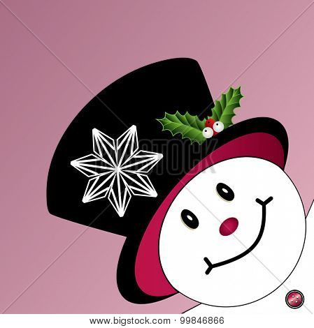 Happy snowman with unique snowflake