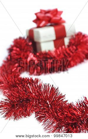 Present Wraped By Red Ribbon