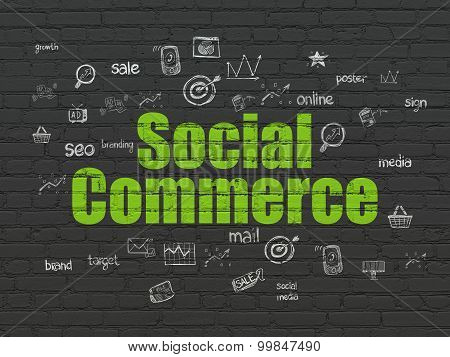 Advertising concept: Social Commerce on wall background